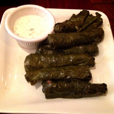Homemade Grape Leaves  Stuffed with Rice, Meat and Spices; Cucumber Yogurt
