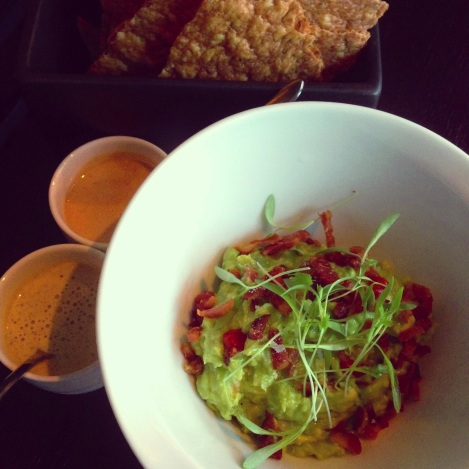 Bacon Guacamole, Black Pepper Salsa, Smoked Cashew and Chipotle Salsa, Masa Crisps