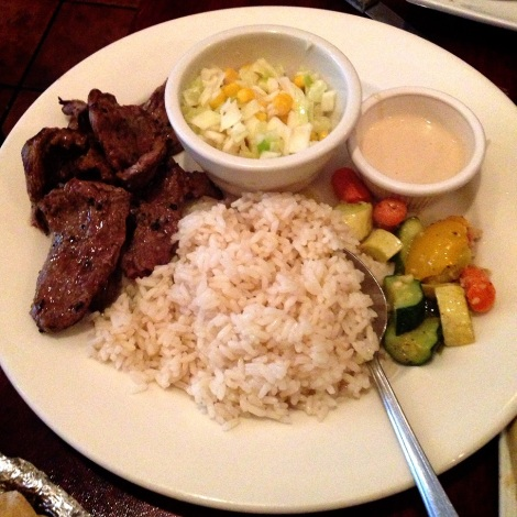 Charred Lamb Kebab, Rice, Grilled Vegetable Salad, Tahini Sauce, Corn and Cabbage Slaw
