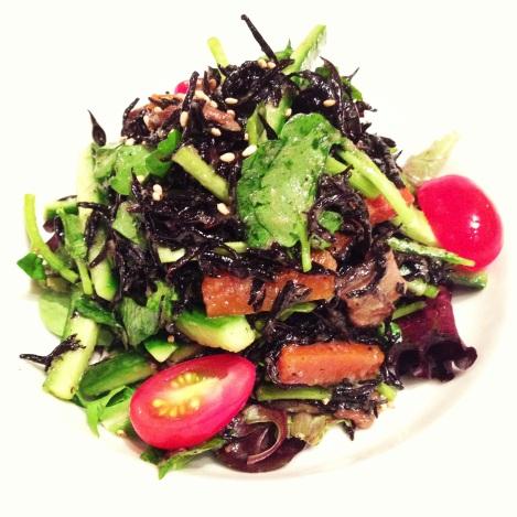 Hijiki Salad - Cooked Black Seaweed, Watercress, Cucumber, Tomato tossed in Daikon Radish Dressing