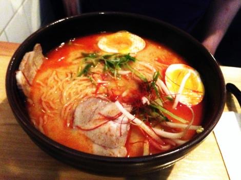 Geki Kara Ramen -- Spicy Salt Chicken Bone Broth, Pork, Bean Sprouts, Soft Boiled Egg, Scallions