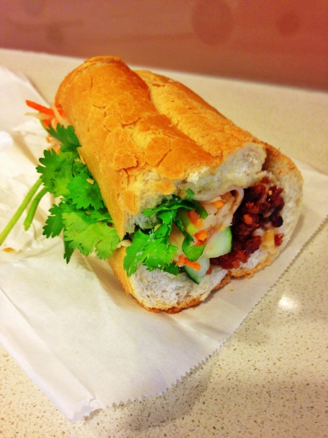 Banh Mi - Crispy Pork, Pickled Carrot and Cabbage, Cilantro, Cucumber