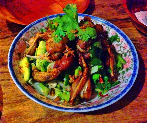 Ginger and Soy Frog Legs, Lemongrass, Cucumber and Herb Salad