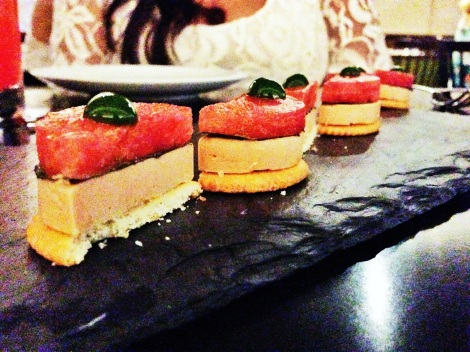 Foie Gras Terrine, Ritz Cracker, Watermelon, Basil, Shiso