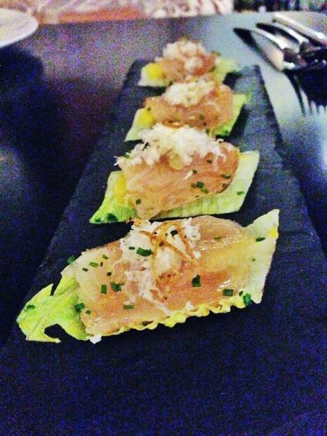 Caesar Nigiri - Hamachi, Romaine Lettuce, Egg Yolk, Parmesan, Crispy Onion