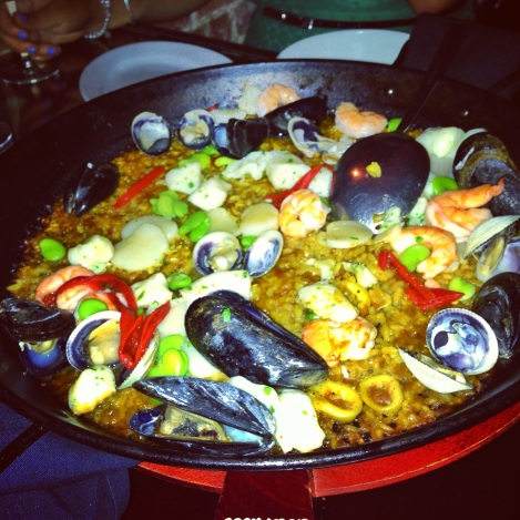 Pescados and Mariscos Paella - Rice, Mussels, Cockles, Cuttlefish, Shrimp, Squid, Scallops, Green Beans, Peppers