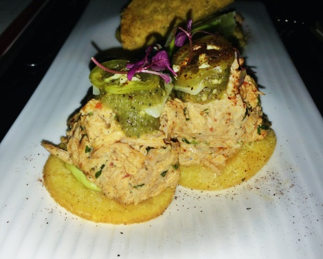 Hand Pulled Chicken Arepas, Jalapeno Salsa Verde, Corn Patty, Avocado Crema