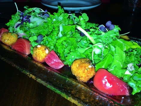 Baby Kale Salad, Smoked Duck, Roasted Baby Beets, Crispy Truffle Goat Cheese Fritters