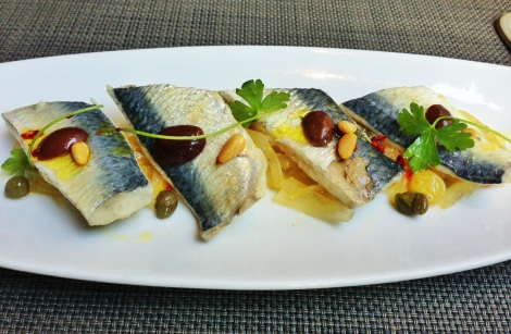 Sicilian Sardine Escabeche, Pine Nuts, Kalmata Olives, Golden Raisins, Wilted Cabbage, Caramelized Onions