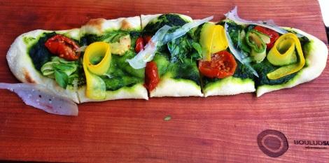 Stone-Baked Flatbread, Herb Pistou, Zucchini, Pecarino Romano, Confit Tomato