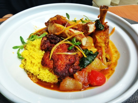 Chicken Tagine, Cauliflower, Green Olives, Tomatoes, Onions, Preserved Lemons, Couscous