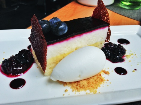 Lemon-Blueberry Gateau, Goat Cheese Bavarian Mousse, Limonchello Sorbetti, Graham Cracker Crumble, Blueberry Compote