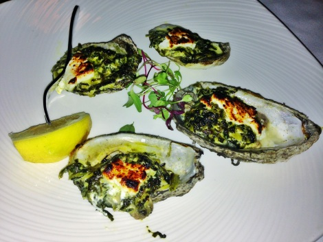 Baked Blue Points Oysters, Creamed Spinach and Goat Cheese