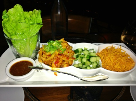 Sake Chicken Lettuce Wraps, Diced Cucumber, Fried Sweet Potatoes, Hoisin Sauce