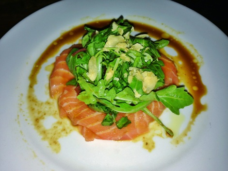 Salmon Belly Carpacc io, Watercress, Arugula, Sweet & Sour Onion , Yuzu