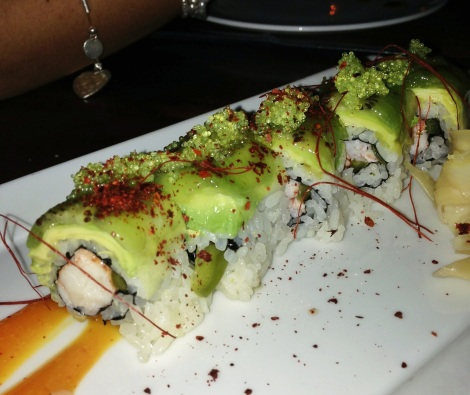 Island Roll -- Lobster, Kiwi, Pickled Jalapeño, Tobiko, Spicy Mango Sauce