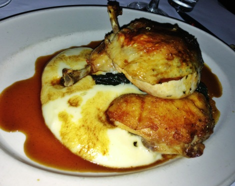 Poulet Fermier Rôti -- Roasted Free Range Chicken, Braised Chard, Pommes Aligot