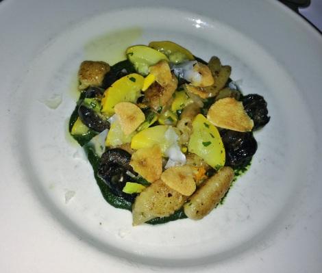 Escargot, Herb Puree, Gnocchi, Crispy Garlic, Summer Squash, Chevre