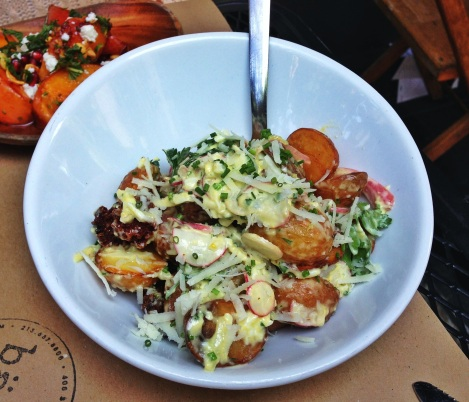 Pee Wee Potato Salad, Egg, Tarragon, Crispy Italian Sausage