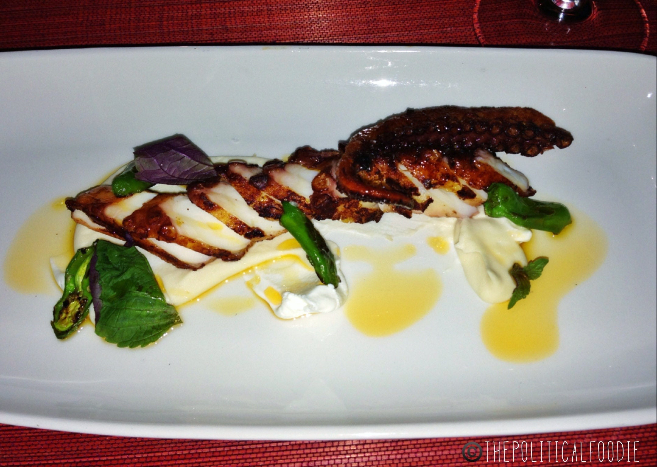 Charred Octopus, White Bean Puree, Yogurt, Basil, Shishito