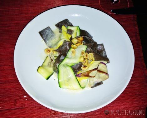 Black Garlic Pappardelle, Hazelnuts, Zucchini, Parmesan