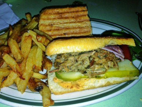 Cuban Sandwich -- Citrus Marinated Roast Pork, Ham, Swiss Cheese, Chipotle Mayonnaise, Pickles
