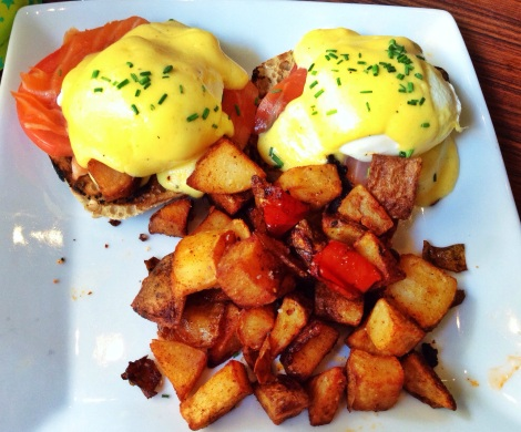 Smoked Salmon, Poached Eggs, Tomato, Whole Wheat English Muffin, Hollandaise Sauce, Home Fries