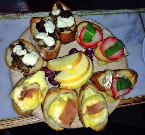 Goat Cheese & Mushroom;  Brie, Strawberry & Mint; Taleggio, Prosciutto & Artichoke