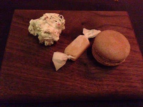 Frozen Chocolate Stout Macaron; Pink Peppercorn Caramel Chew; Dried Cherry & Pistachio Divinity