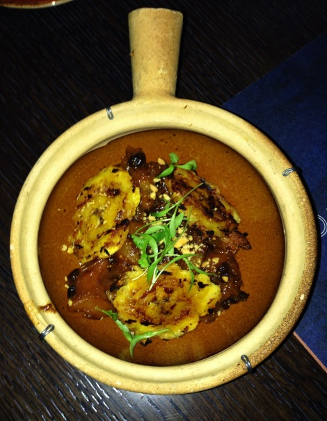 West African Beef Suya – Rum Soaked Apricot Compote, Grilled Plantain, Groundnuts