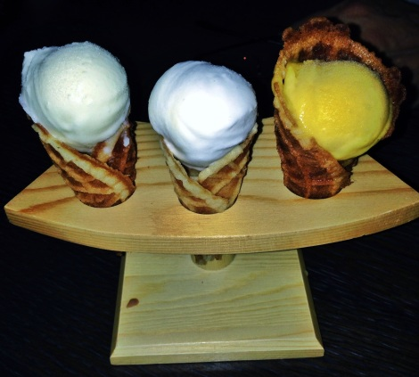 Key Lime, Coconut, Passion Fruit Sobert with Homemade Waffle Cones