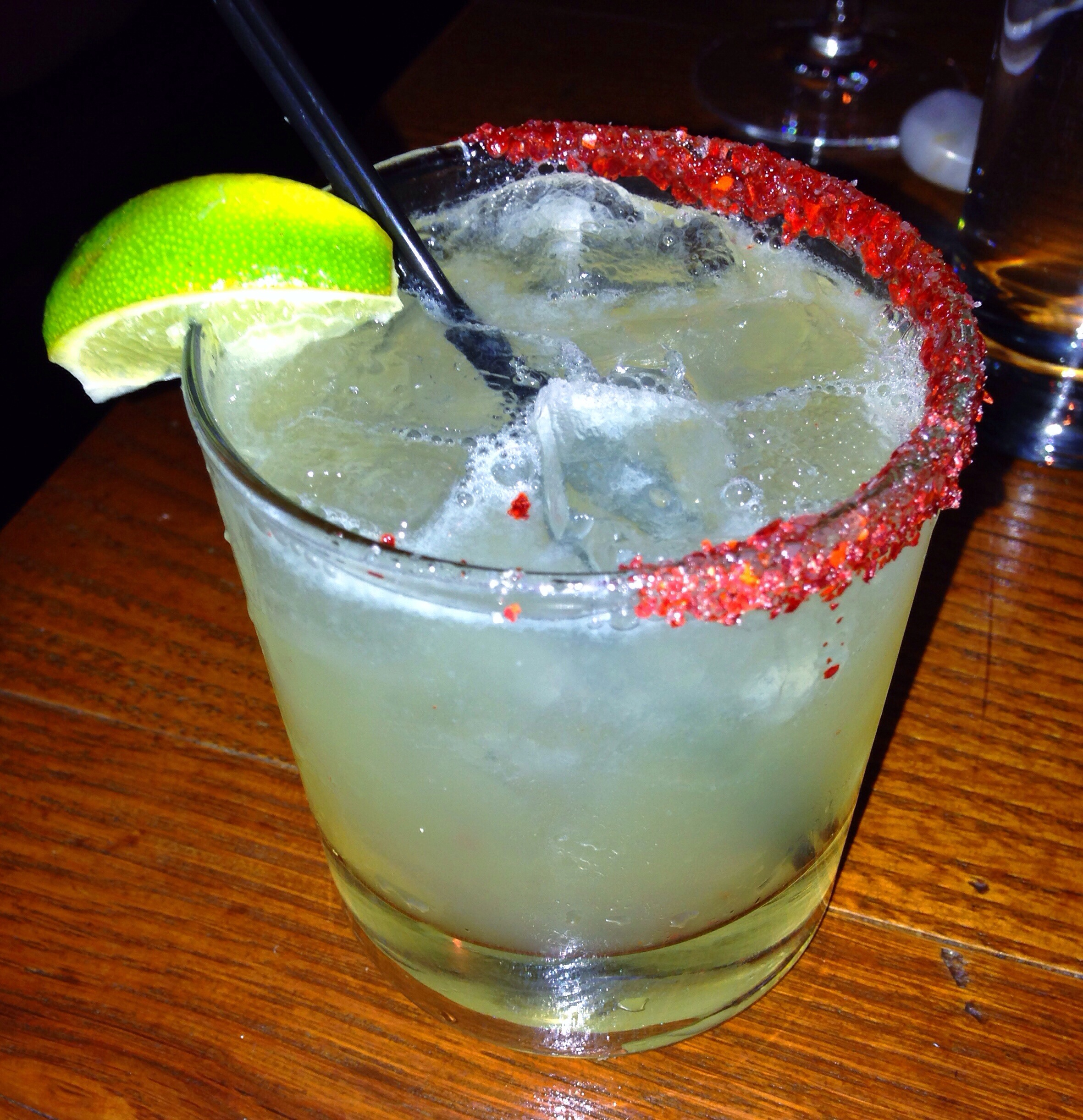 ... – Chili Infused Tequila, Soda, Bitters, Lime, Chili Salt Rim