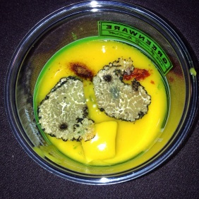Brushstroke - Kabocha Pumpkin-Butternut Squash Soup with Sweet Potato, Soy Sauce Powder and Freshly Shaved Black Truffle