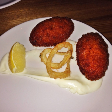 Croquettas de Bacalao – Salt Cod Fritters with Tempura Lemon Rings and Aioli