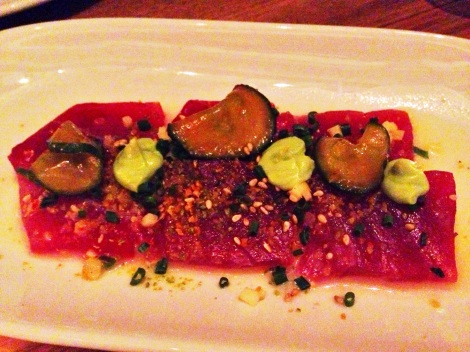 Yellowfin Tuna Crudo with White Soy, Pickled Cucumbers, Citrus and Avocado Crème