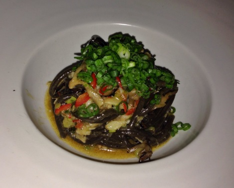 Black Garlic Bucatini, Dungeness Carb, Maitake, Chili