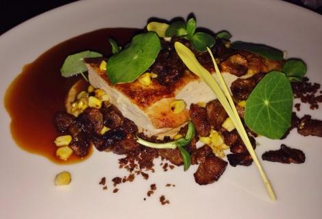 Chicken, Cripsy Sunchoke, Corn, Nasturium