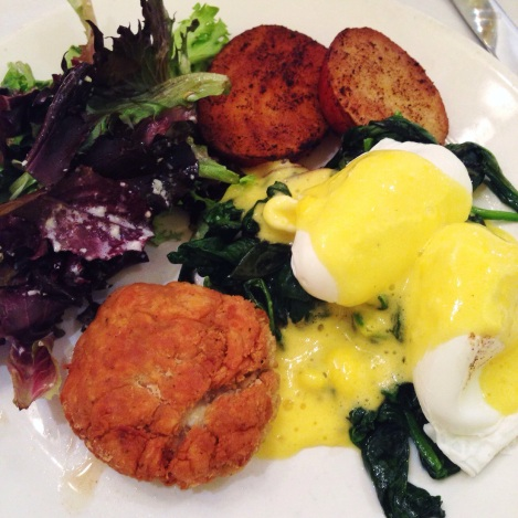"""Crab Cake, """"Poached Eggs,"""" Spinach, Hollandaise, Potatoes, Salad"""