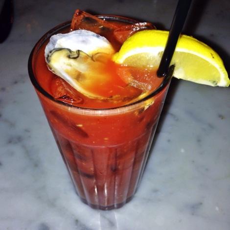 Hampton Shore Bloody Mary - Meyer Lemon Vodka, Clam Juice, House Made Bloody Mary Mix, Freshly Sucked Oyster