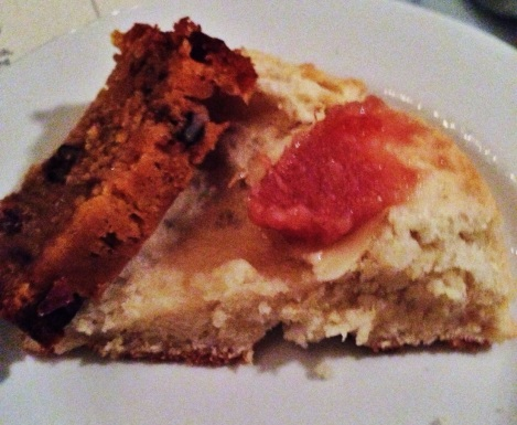 Pieces of Biscuit topped with Quince Jam and Honey Butter; Sweet Potato Walnut Bread
