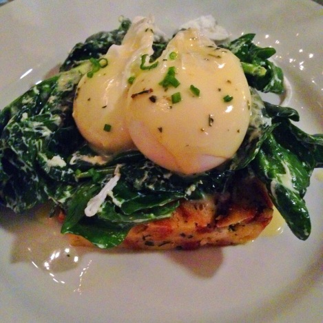 Goat Cheese-Sage Bread Pudding, Poached Eggs, Lemon Butter Sauce, Wilted Spinach