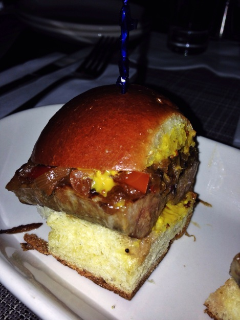 Bratwurst Sliders, Sweet Pepper Relish, Homemade Mustard on a Potato Roll The Butterfly NYC