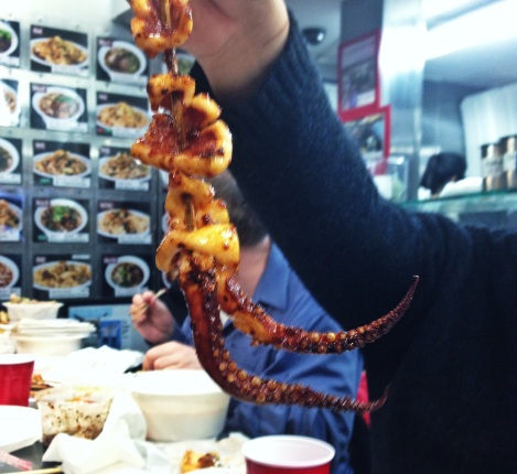Squid Skewers, Lan Zhou Pulled Noodles, Golden Mall Flushing Queens
