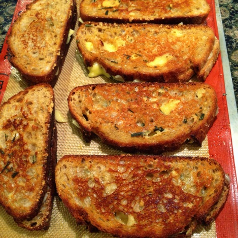 Gruyere & White Cheddar Grilled Cheese with Rosemary Butter