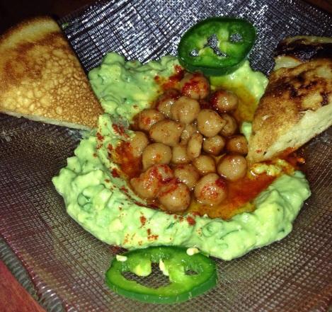 """Guacamole """"Hummus"""" with Chickpeas, Jalapeno, Masa """"Pita"""""""
