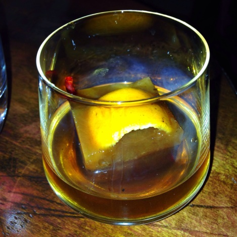 Bourbon Infused Tequila over Old Fashioned Cube at Xixa in Brooklyn