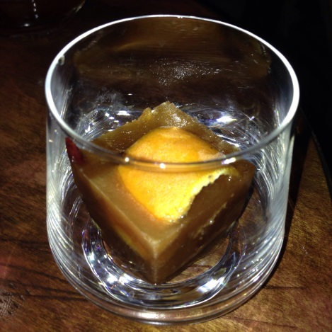 Old Fashioned Cube Cocktail at Xixa in Brooklyn