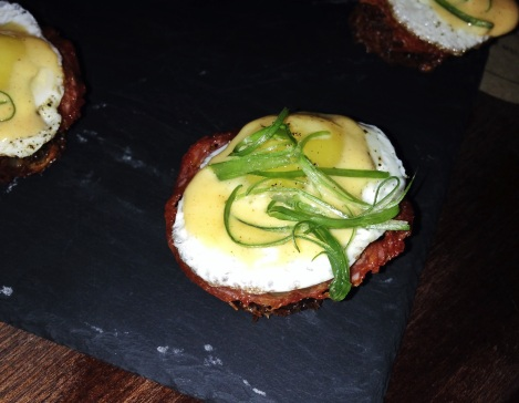 Quail Eggs Benedict, Hash Browns, Chorizo