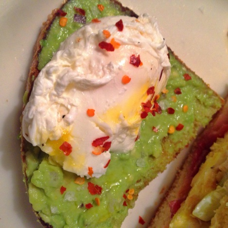 Avocado Toast with Poached Egg, Lemon Juice, Red Pepper Flakes, Sea Salt