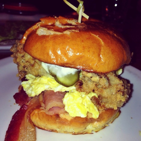 Bacon, Egg, Fried Oysters, Pickles on Brioche